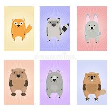 animals card educational cards for stock vector