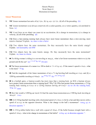 Honors physics work sheet 1 momentum impulses linear