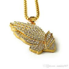 praying necklace wholesale 18k gold plated praying big pendants bling jewelry