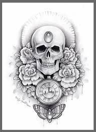 skull rose tattoo flash pictures to pin on pinterest tattooskid
