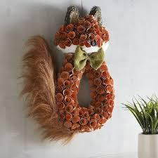 glitter wood curl fox wreath pier 1 imports