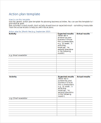 editable template of blank action plan for business with activity