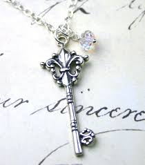 antique silver key necklace images Silver key necklace vintage fleur de lis key pendant jpg