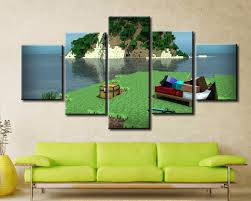 Man Home Decor 5 Panel Canvas Painting Home Decor For Living Room Minecraft Hd