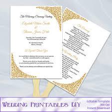 Wedding Programs Fans Templates Golden Summer Wedding Unique Pastiche Events