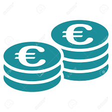 flat white color euro coins glyph icon style is flat symbol soft blue color