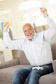 Man On Computer Meme - senior happy winning computer game stock photo image of face