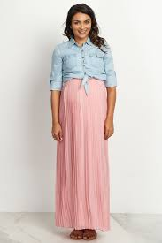 maternity skirt mauve pleated maxi skirt