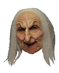 old witch mask with gray hair fairy tale masks for halloween