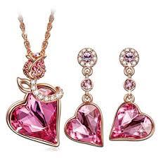 qianse lover gold necklace earrings jewelry