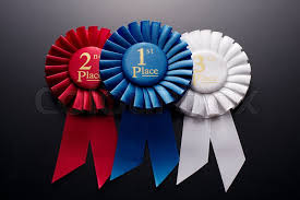 pleated ribbon 1st 2nd and 3rd place pleated ribbon rosette on a background