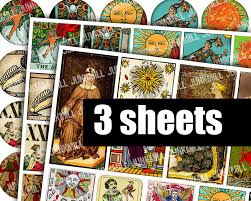 medieval tarot digital printable collage sheets halloween sale
