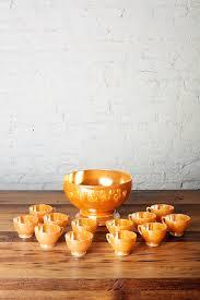 anchor hocking lusterware peach punch bowl by catchandreleasemerch