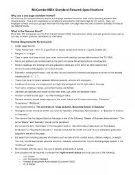 standard resume template mccombs resume template 3 100 wharton sle kellogg mba format w
