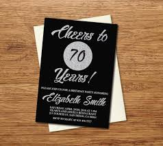 E Card Invitation 70th Birthday Invitation Printable Silver U0026 Black Birthday