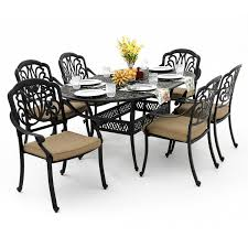 7 Pc Patio Dining Set - rosedown 7 piece cast aluminum patio dining set with 72 x 42 inch