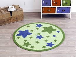 kinderzimmer teppich rund velours kinder teppich sterne grün rund 100 cm 101945 teppiche