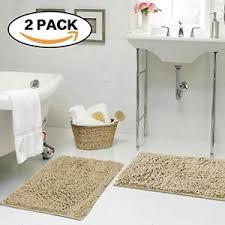 Shag Bathroom Rug Soft Bath Mat Microfiber 2 Pack Shag Bathroom Rugs Non Slip