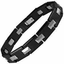 ceramic bracelet images Men 39 s two tone tungsten and ceramic link bracelet 8 25 quot mens jpg