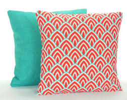 Patio Pillow Covers Aqua Red Outdoor Throw Pillow Covers Nautical Beach Decor Red