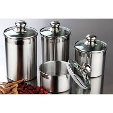 kitchen canister sets stainless steel stainless steel jars kitchen canister set 4 storage canisters glass