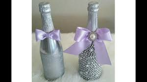 silver wine bottles diy mr and mrs bling champagne bottle decor