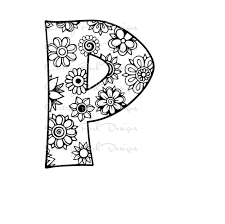 letter p alphabet flowers svg jpeg png pdf use with