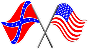 Reverse Color American Flag American And Confederate Flag Decal Sticker