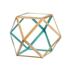 teal accent table southern enterprises jenna geometric accent table in gold and teal