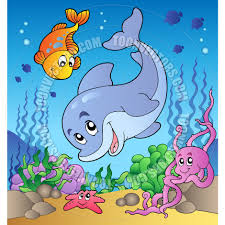 cartoon various cute animals at sea bottom by clairev toon