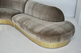 milo baughman brass base curved sectional sofa at 1stdibs