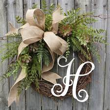 monogram wreath door wreath monogram wreath burlap wreath succulent wreath for