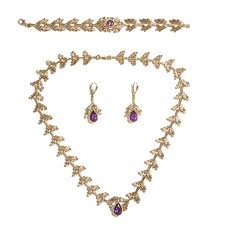 amethyst jewelry necklace images 14k solid yellow gold amethyst diamonds necklace earrings jpg