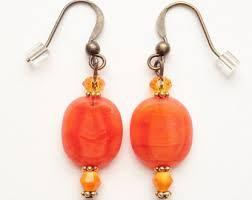 orange bead earring etsy