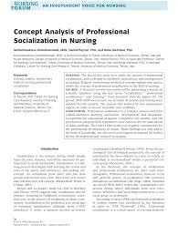 concept analysis of professional socialization in nursing pdf