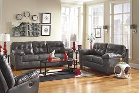 Leather Livingroom Sets Contemporary Faux Leather Sofa W Pillow Arms By Signature Design