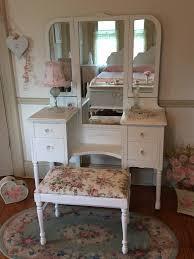 Antique Dresser Vanity Darling Antique White Vanity With Tri Fold Mirror Forever Pink