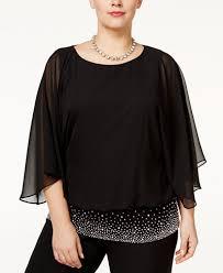 plus size blouse msk plus size embellished chiffon blouse tops macy s