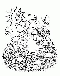 funny little spider and spring coloring page for kids seasons