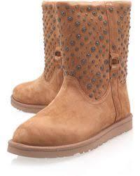 ugg womens eliott boots ugg chestnut eliott studded sheepskin boots in brown lyst