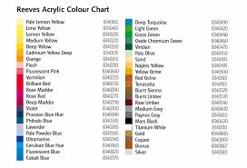 reeves acrylic paint 75ml colour chart