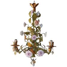 porcelain chandelier roses italian tole porcelain roses and flowers chandelier at 1stdibs
