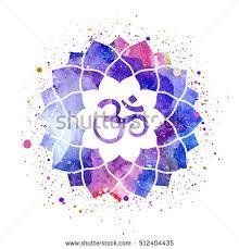 Lotus Flower With Om Symbol - om sign lotus flower rainbow watercolor stock vector 512404435