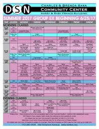 group fitness class schedule dsn community center