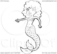 lineart clipart of a cartoon black and white mermaid pointing