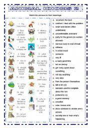 english teaching worksheets animal idioms