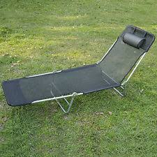 Outdoor Reclining Chaise Lounge Outsunny Adjustable Reclining Beach Sun Lounge Chair Black Ebay