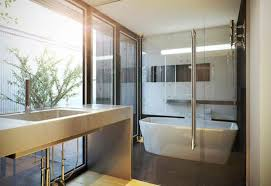 modern and cool japanese tub with shower combo for relaxing design