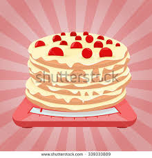 layered cake cherry on scales topic stock vector 339333809