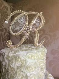 pearl cake topper custom monogram birthday cake topper by thecrystalflower